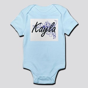 Kayla Artistic Name Design with Flowers Body Suit