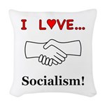 I Love Socialism Woven Throw Pillow
