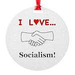 I Love Socialism Round Ornament