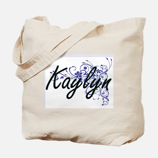 Kaylyn Artistic Name Design with Flowers Tote Bag