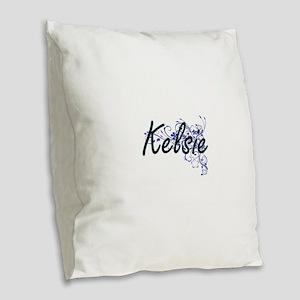 Kelsie Artistic Name Design wi Burlap Throw Pillow