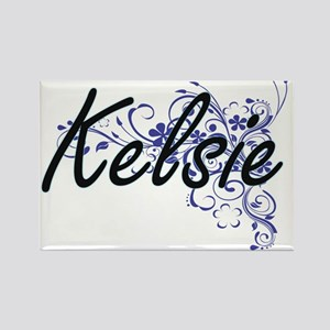 Kelsie Artistic Name Design with Flowers Magnets