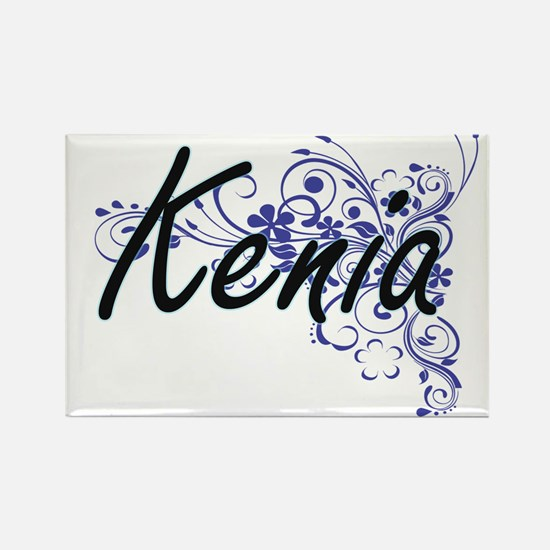 Kenia Artistic Name Design with Flowers Magnets
