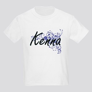 Kenna Artistic Name Design with Flowers T-Shirt