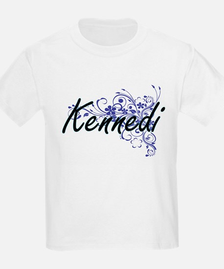 Kennedi Artistic Name Design with Flowers T-Shirt