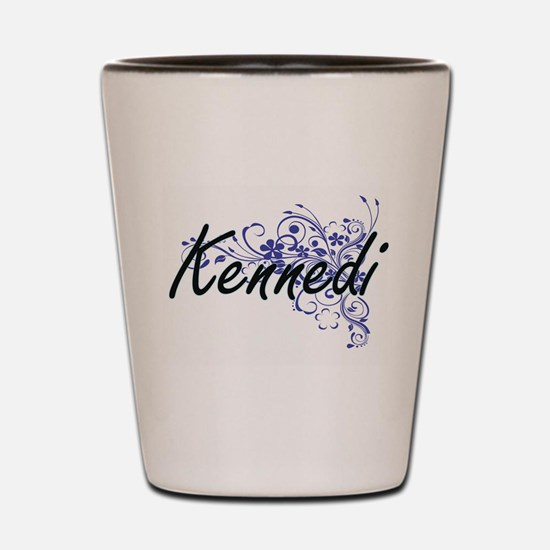 Kennedi Artistic Name Design with Flowe Shot Glass