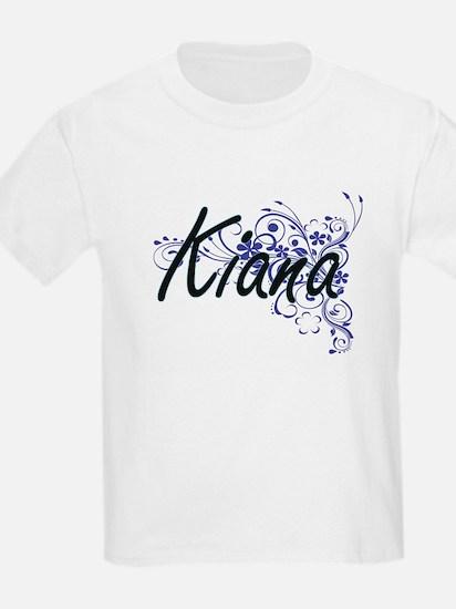 Kiana Artistic Name Design with Flowers T-Shirt