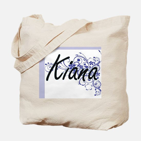 Kiana Artistic Name Design with Flowers Tote Bag