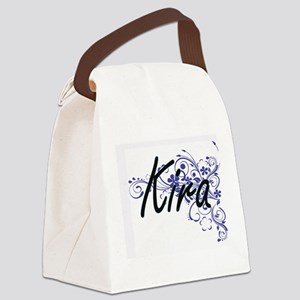 Kira Artistic Name Design with Fl Canvas Lunch Bag