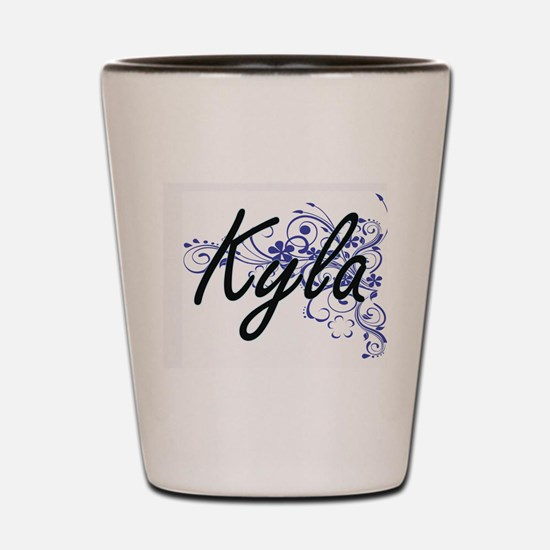 Kyla Artistic Name Design with Flowers Shot Glass