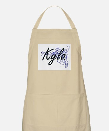 Kyla Artistic Name Design with Flowers Apron
