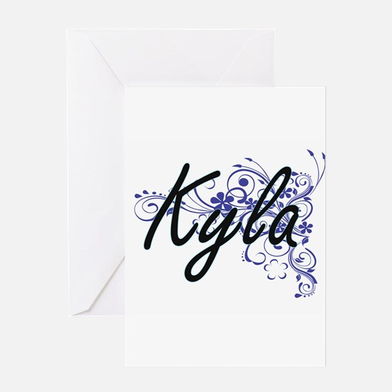 Kyla Artistic Name Design with Flow Greeting Cards