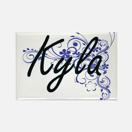 Kyla Artistic Name Design with Flowers Magnets