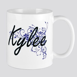 Kylee Artistic Name Design with Flowers Mugs