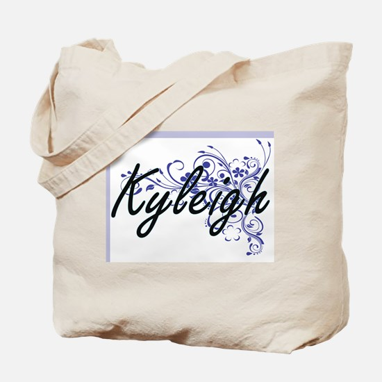 Kyleigh Artistic Name Design with Flowers Tote Bag