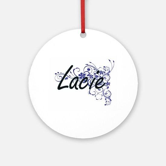 Lacie Artistic Name Design with Flo Round Ornament