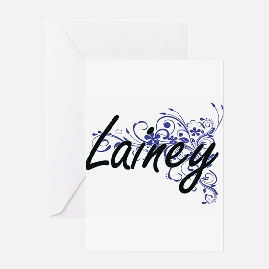 Lainey Artistic Name Design with Fl Greeting Cards