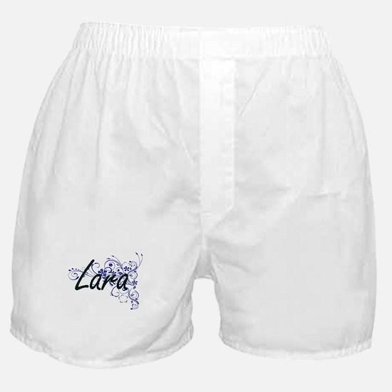 Lara Artistic Name Design with Flower Boxer Shorts