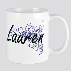 Lauren Artistic Name Design with Flowers Mugs