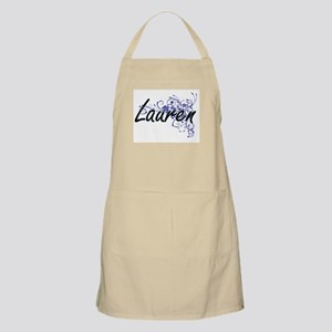 Lauren Artistic Name Design with Flowers Apron