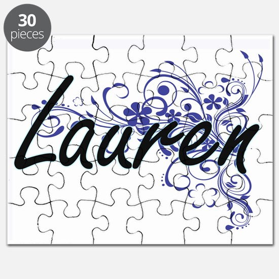 Lauren Artistic Name Design with Flowers Puzzle