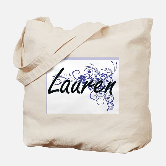 Lauren Artistic Name Design with Flowers Tote Bag