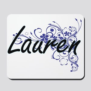 Lauren Artistic Name Design with Flowers Mousepad