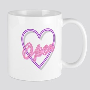 Neon Light Typography Heart Open Mugs