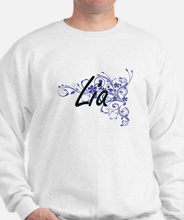 Lia Artistic Name Design with Flowers Jumper