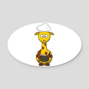 Giraffe Barbecue Oval Car Magnet