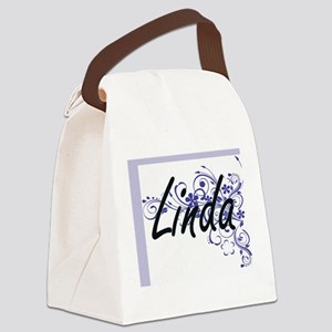 Linda Artistic Name Design with F Canvas Lunch Bag