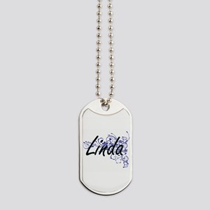 Linda Artistic Name Design with Flowers Dog Tags