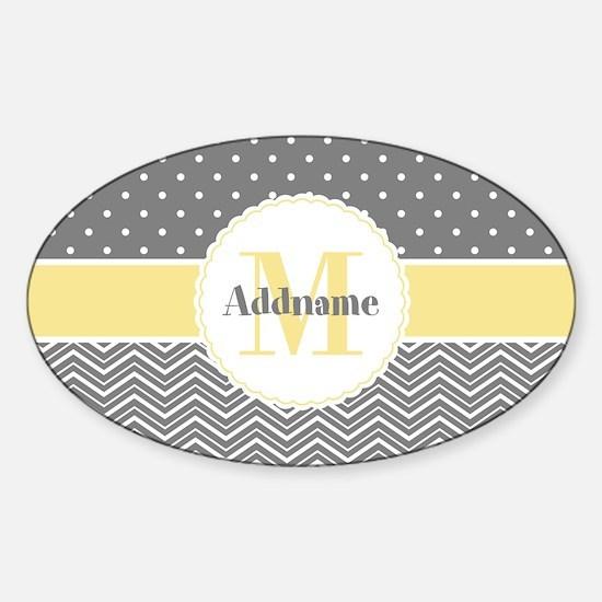 Monogram Polka Dots Chevron Sticker (Oval)