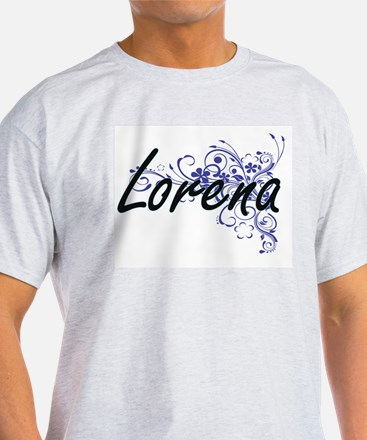 Lorena Artistic Name Design with Flowers T-Shirt