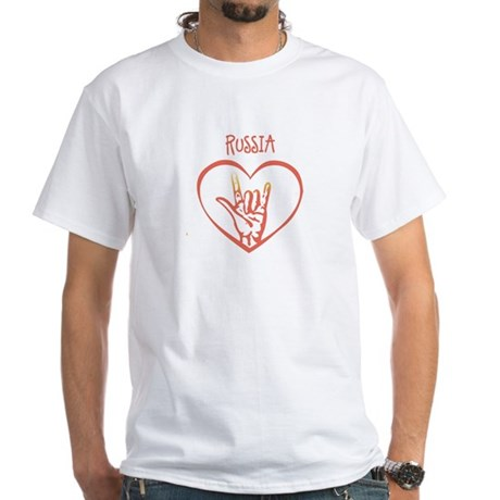 RUSSIA (hand sign) White T-Shirt