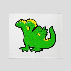 Green 3-Headed Monster Throw Blanket