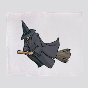 Witch on a Broom Throw Blanket