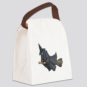 Witch on a Broom Canvas Lunch Bag