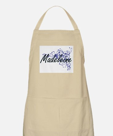 Madeleine Artistic Name Design with Flowers Apron