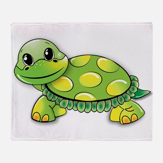 Cute Green turtle Throw Blanket