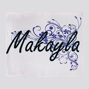 Makayla Artistic Name Design with Fl Throw Blanket