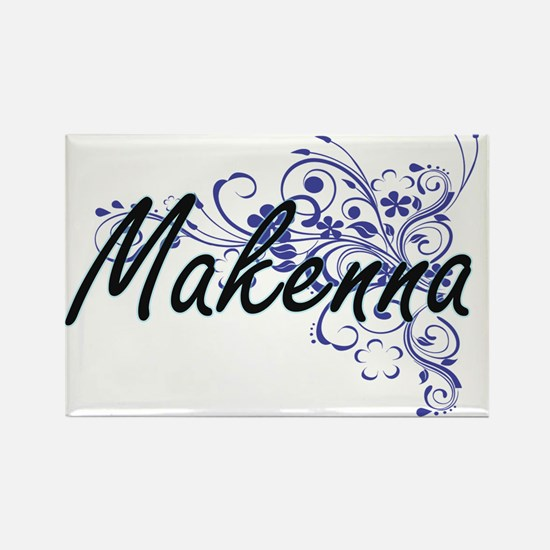 Makenna Artistic Name Design with Flowers Magnets