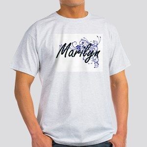 Marilyn Artistic Name Design with Flowers T-Shirt