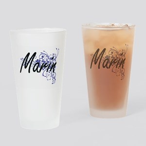 Marin Artistic Name Design with Flo Drinking Glass