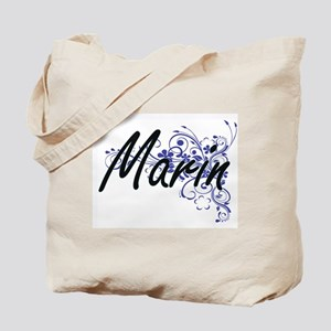 Marin Artistic Name Design with Flowers Tote Bag