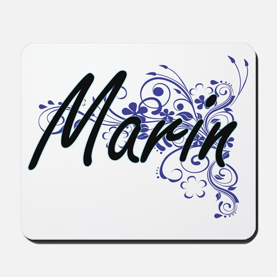 Marin Artistic Name Design with Flowers Mousepad