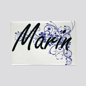 Marin Artistic Name Design with Flowers Magnets