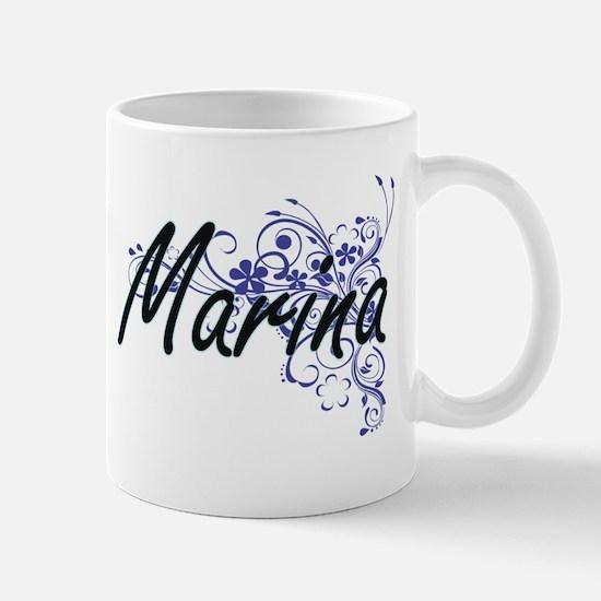 Marina Artistic Name Design with Flowers Mugs