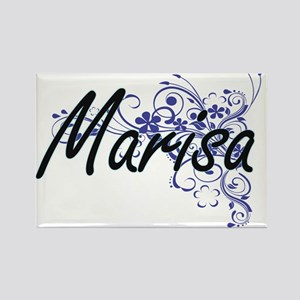 Marisa Artistic Name Design with Flowers Magnets