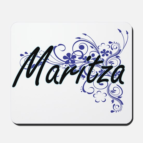 Maritza Artistic Name Design with Flower Mousepad